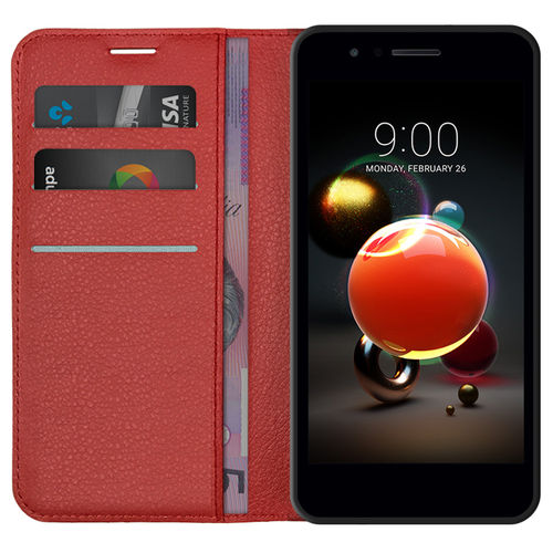 Leather Wallet Case & Card Holder Pouch for LG K9 - Red